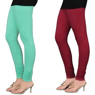 Stylobby Green And Maroon Cotton Lycra Pack Of 2 Leggings