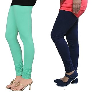 Stylobby Green And Navy Blue Cotton Lycra Pack Of 2 Leggings