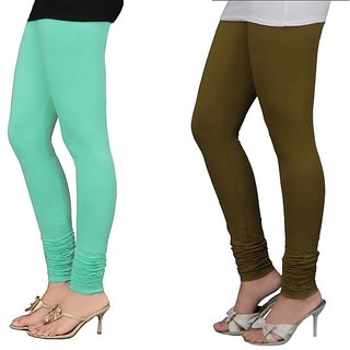 Stylobby Green And Olive Green Cotton Lycra Pack Of 2 Leggings