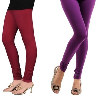 Stylobby Maroon And Purple Cotton Lycra Pack Of 2 Leggings