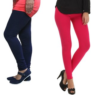 Stylobby Navy Blue And Hot Pink Cotton Lycra Pack Of 2 Leggings