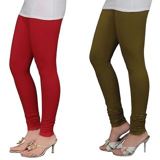 Stylobby Red And Olive Green Cotton Lycra Pack Of 2 Leggings