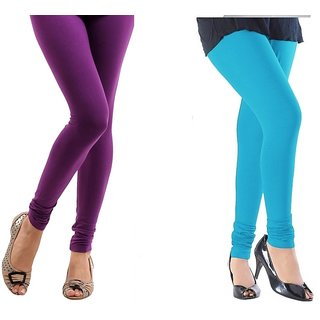Stylobby Purple And Sky Blue Cotton Lycra Pack Of 2 Leggings