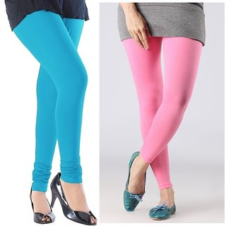 Stylobby Sky Blue And Baby Pink Cotton Lycra Pack Of 2 Leggings