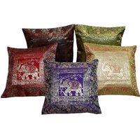 Gurukripa Shopee Pretty Multi -Colour Elephant Print Cushion Cover 5 Pc. Set - CUSGKS109