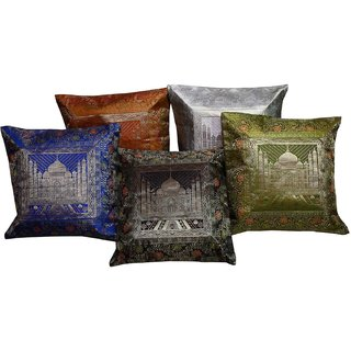 Gurukirpa Shopee Tajmahal Print Jacquard Silk Work Multi -Colour Cushion Cover 5 Pc. Set - CUSGKS110