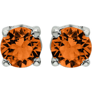 Mahi with Crystal Elements Yellow Classic Solitaire Rhodium Plated Earring for Women ER1194142RYel