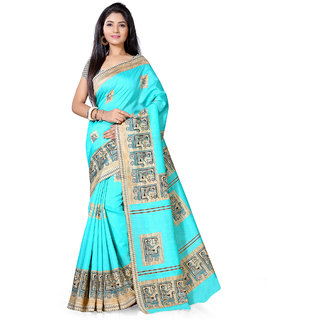 Saree Mall Sea Green Bhagalpuri Printed Saree With Unsitiched Blouse