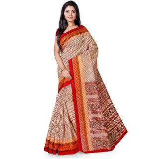 Saree Mall Beige  Maroon Bhagalpuri Printed Saree With Unsitiched Blouse
