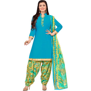 Sareemall Sky Blue Cotton Dress Material With Unstitched Dupatta