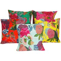 Gurukripa Shopee Jaipuri Kantha Work With Floral Work Design Cushion Cover 5 Pc. Set - CUSGKS123