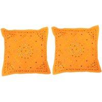 Gurukripa Shopee Beautiful Thread Work And Little Mirror Lace Work Cotton Cushion Cover 2Pc. Set -CUSGKS205