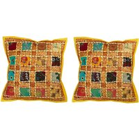 Gurukripa Shopee Jaipuri Designer Patchwork Work With Lace Work Design Cushion Cover Set -CUSGKS206