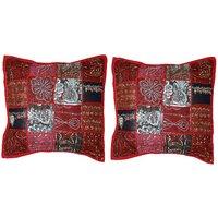 Gurukripa Shopee Jaipuri Designer Patchwork Work With Lace Work Design Cushion Cover Set - CUSGKS211