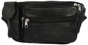Evelyn Black leather waist pouch-001