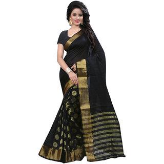 RoopMantra Raj Black Color Cotton Silk Saree with Blouse Piece