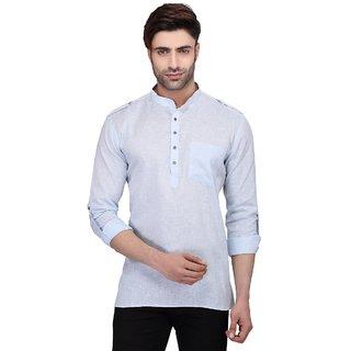RG Designers Men's Full Sleeve Short kurta AVSONALOOP-BLUE