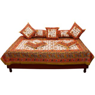 Gurukripa Shopee Royal Rajasthani and Floral Print of Pure Cotton Diwan BedSet DWSGKS104
