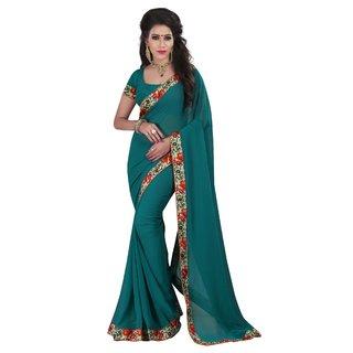 Neeta Green Designer Georgette fashion saree with blouse piece