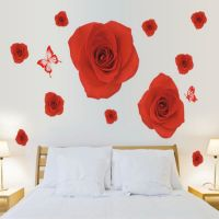 Glass Of Red Roses Romantic Bedroom Living Room Wall Stickers Home Bedroom Wall Art Decoration