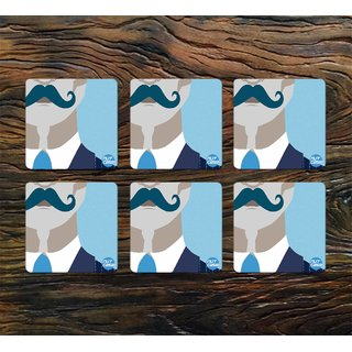 Nutcase Designer Square Metal Coaster (Pack of 6)