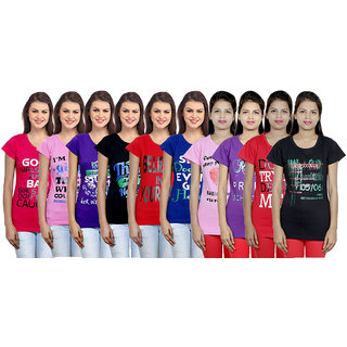 IndiWeaves Women's Cotton Printed T-Shirts Combo (Pack of 10)