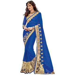 Aagaman Fashion Exuberant Blue Colored Border Worked Chiffon Net Saree 9637
