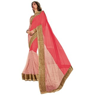 Aagaman Fashion Striking Red Colored Border Worked Georegette Chiffon Saree 9638