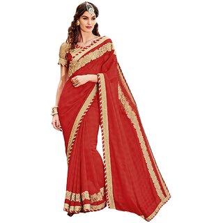 Aagaman Fashion Adorable Maroon Colored Border Worked Faux Georgette Saree 9640