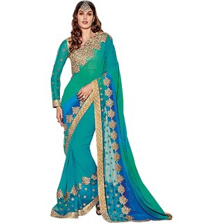 Aagaman Fashion Admirable SkyBlue Colored Border Worked Net Georgette Saree 9641