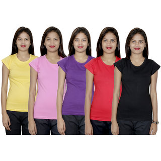 IndiWeaves Women's Cotton  Solid T-Shirt Combo 5 (Pack of 5 T-Shirt)