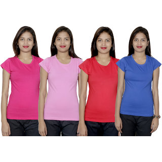 IndiWeaves Women's Cotton  Solid T-Shirt Combo 4 (Pack of 4 T-Shirt)
