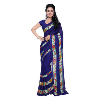 Fabdeal Blue Georgette Floral Saree With Blouse