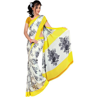 MD Textile Royal Beauty Yellow Coloured Saree With Blouse
