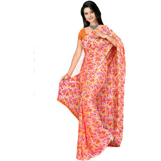 MD Textile Royal Beauty Orange Coloured Saree With Blouse