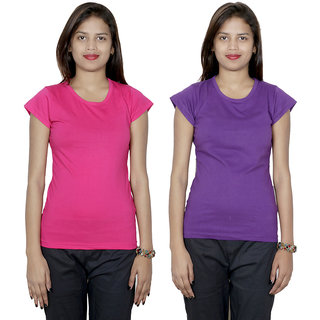 IndiWeaves Women's Cotton  Solid T-Shirt Combo 2 (Pack of 2 T-Shirt)