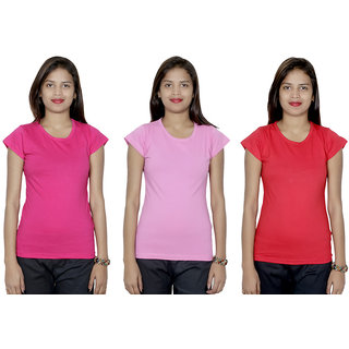 IndiWeaves Women's Cotton  Solid T-Shirt Combo 3 (Pack of 3 T-Shirt)