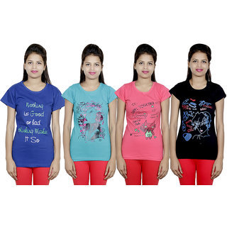 IndiWeaves Women Cotton T-Shirt(Pack Of 4 T-Shirt) Combo Offer