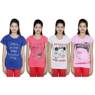 IndiWeaves Women Cotton T-Shirt(Pack Of 4 T-Shirt) Combo Offer