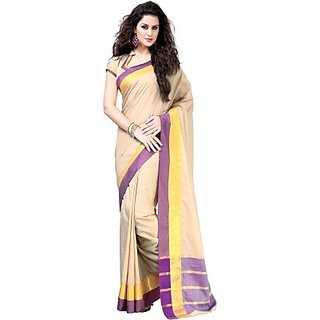 Hazel Embellished Beige Cotton Party Wear Saree
