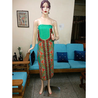 Indian Beautiful Traditional Embroidery Parrot Green Silk Dress Material