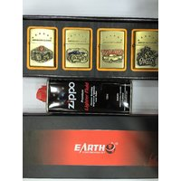 Big Sale Branded Earth Zippo Lighter Combo With Fluid (COMBO PACK 5 IN 1) Limited Offer