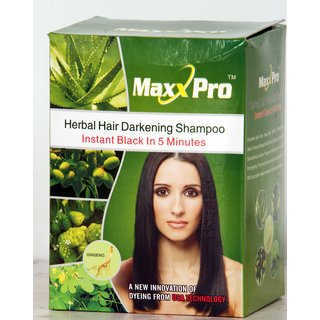 Ruchiworld NEW MAX PRO HERBAL HAIR DARKENING SHAMPOO (BLACK)(pack Of 20)
