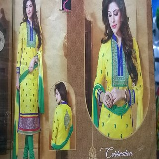 Semi-Stitched Cotton Zari Embroidery Long Salwar Suits with best offer