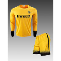 Imported Yellow Dry Fit Inter Milan Club Football Fan Long Sleeves Jersey With Shorts