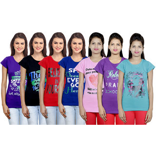 IndiWeaves Women's Cotton Printed T-Shirts (Pack of 7)
