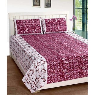 GoldenStore Double Bedsheet with 2 Pillow Covers - 010