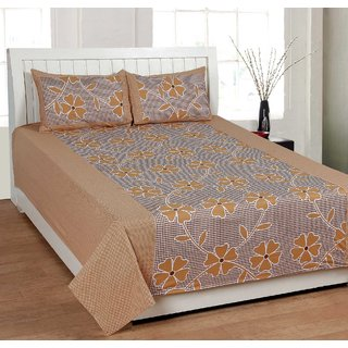GoldenStore Double Bedsheet with 2 Pillow Covers - 019