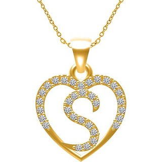 Ghosh and ghosh 92 5 silver S Alphabet Heart Design Pendant