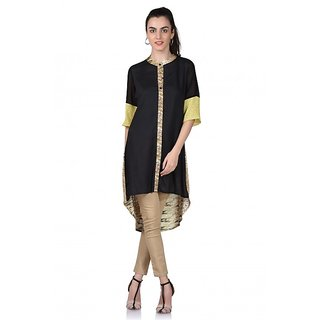 SUONII Rayon Black Yellow kurti for women